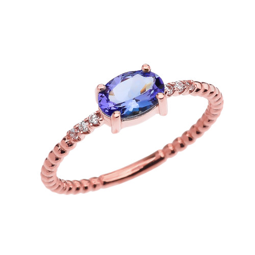 Diamond Beaded Band Ring With Tanzanite Centerstone in Rose Gold