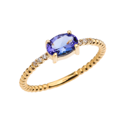 Diamond Beaded Band Ring With Tanzanite Centerstone in Yellow Gold