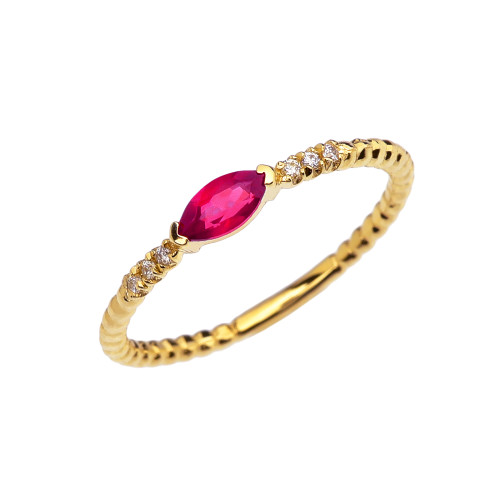 Diamond and Ruby Marquise Solitaire Beaded Band Proposal/Stackable Yellow Gold Ring
