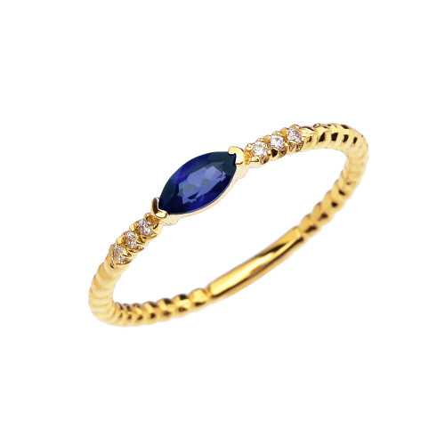 Diamond and Sapphire Marquise Solitaire Beaded Band Proposal/Stackable Yellow Gold Ring