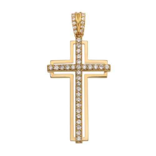 Yellow Gold 1.5 Carat Diamond Cross Pendant