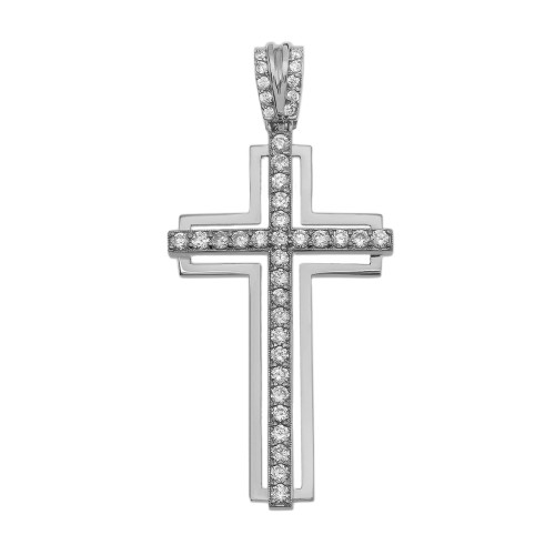 White Gold 2 Carat Cubic Zirconia Cross Pendant