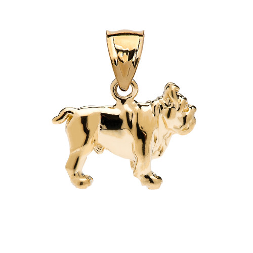 Bulldog Pendant Necklace in Yellow Gold