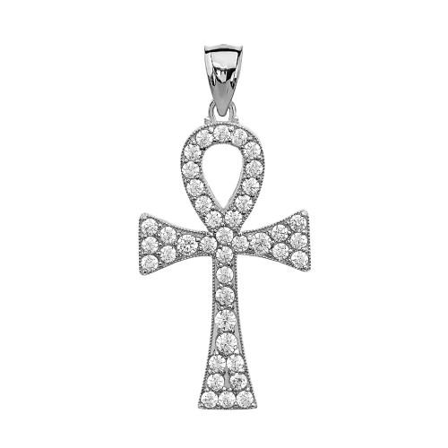 Diamond Ankh Cross White Gold Pendant Necklace