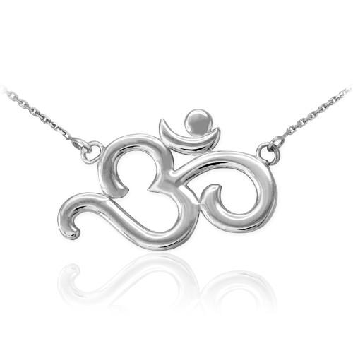 14K Polished White Gold Om Necklace