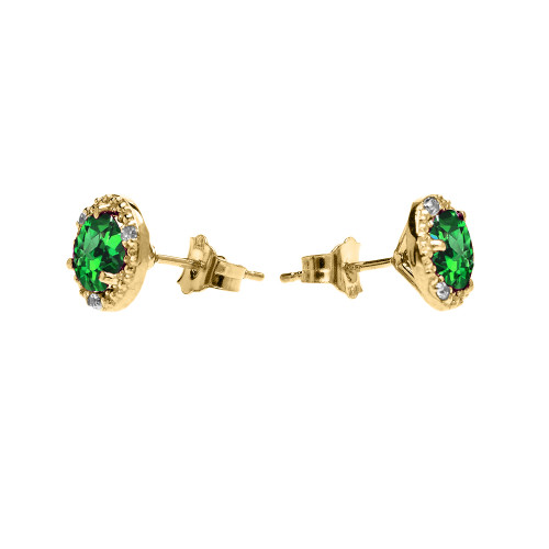 a0950b6c0329f Halo Stud Earrings in Yellow Gold with Solitaire Lab Created Emerald and  Diamonds