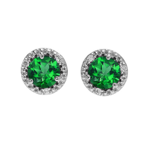 Halo Stud Earrings in White Gold with Solitaire Lab Created Emerald and Diamonds