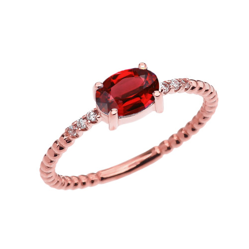 Diamond Beaded Band Ring With Garnet Centerstone in Rose Gold