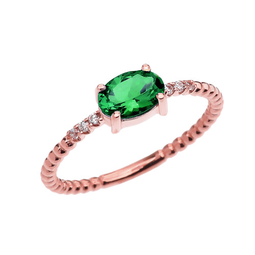 Diamond Beaded Band Ring With Genuine Emerald Centerstone in Rose Gold