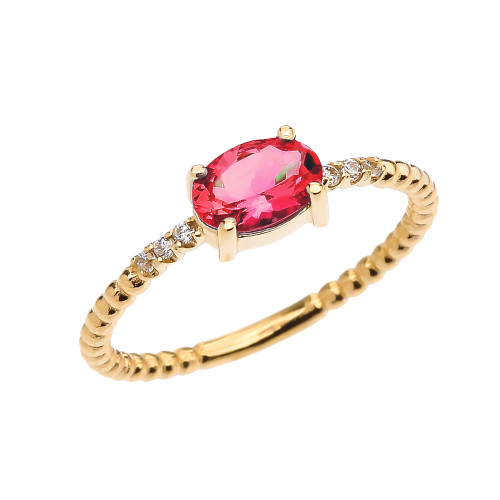 Diamond Beaded Band Ring With July Birthstone Ruby Centerstone in Yellow Gold