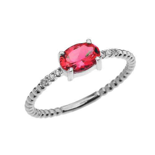 Diamond Beaded Band Ring With July Birthstone Genuine Ruby Centerstone in White Gold