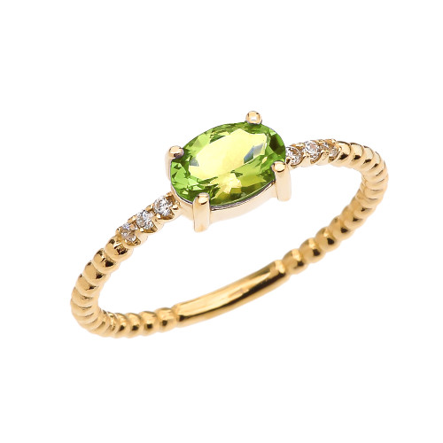 Diamond Beaded Band Ring With Peridot Centerstone in Yellow Gold