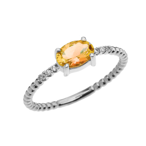 Diamond Beaded Band Ring With Citrine Centerstone in White Gold