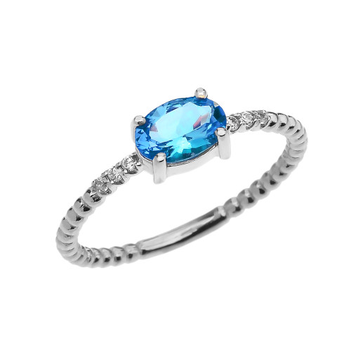 Diamond Beaded Band Ring With Blue Topaz Centerstone in White Gold