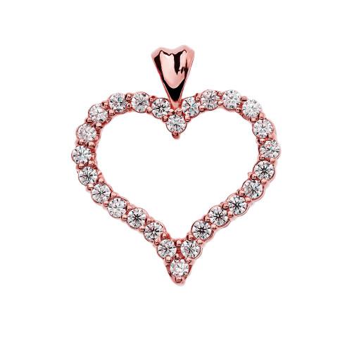 1 Carat Diamond Rose Gold Heart Pendant Necklace