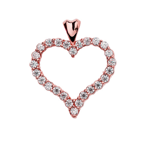 1.5 Carat Cubic Zirconia Rose Gold Heart Pendant Necklace