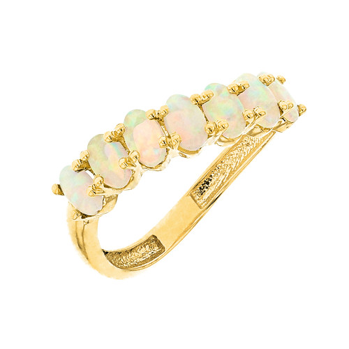 Yellow Gold Wavy Stackable Opal Ring