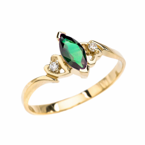 Yellow Gold Diamond And Solitaire Marquise (LCE) Emerald Engagement/Proposal Ring