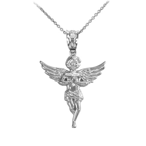 Sterling Silver Textured Praying Angel Pendant Necklace