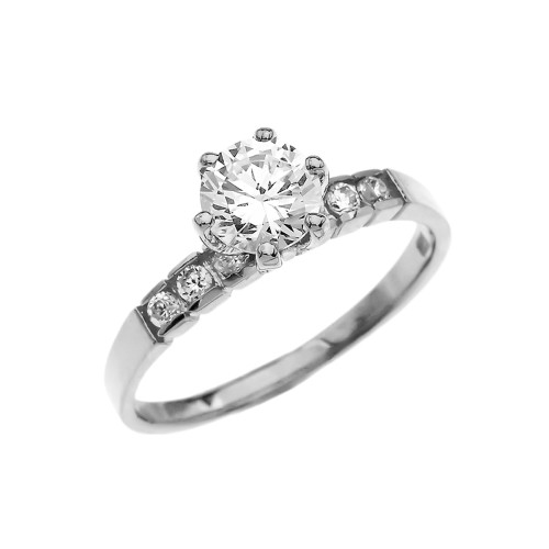 Channel Set Diamond Solitaire Engagement Ring With 1 Carat White Topaz Center stone in White Gold