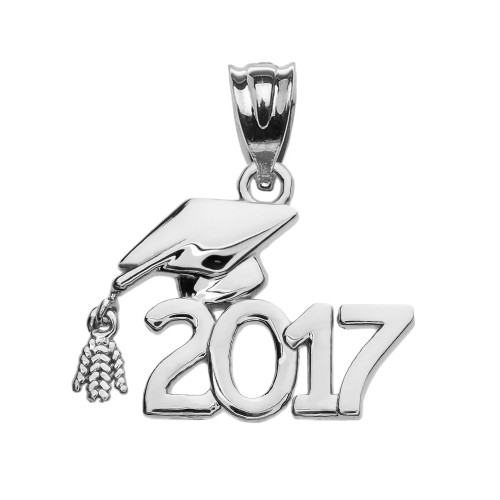 Class of 2017 Graduation Cap Pendant Necklace In White Gold