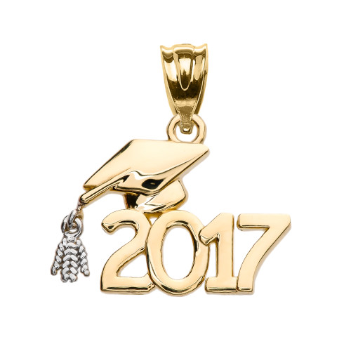 Class of 2017 Graduation Cap Pendant Necklace In Yellow Gold