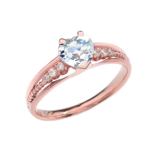 Diamond And Aquamarine Heart Rose Gold Beaded Proposal Ring