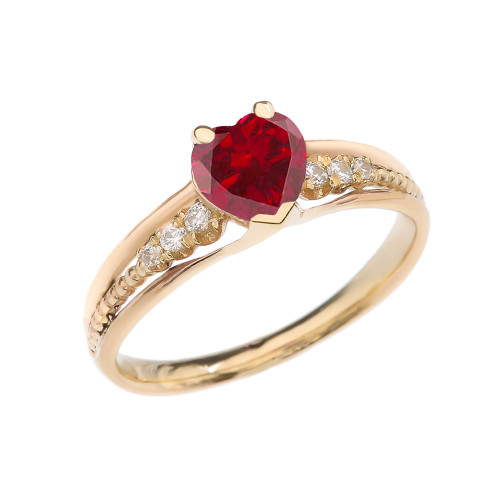 Diamond And July Birthstone (LCR) Ruby Heart Yellow Gold Beaded Proposal Ring