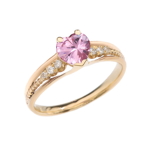 Diamond And October Birthstone Pink CZ Heart Yellow Gold Beaded Proposal Ring