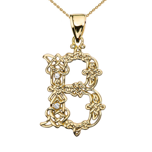 """""""B"""" Initial In Celtic Knot Pattern Yellow Gold Pendant Necklace With Diamond"""