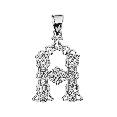 """""""A"""" Initial In Celtic Knot Pattern White Gold Pendant Necklace With Diamond"""