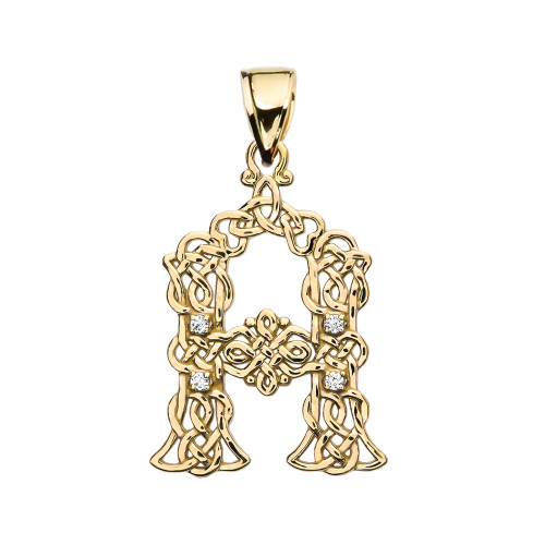 """A"" Initial In Celtic Knot Pattern Yellow Gold Pendant Necklace With Diamond"