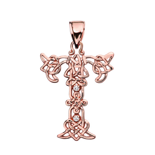 """T"" Initial In Celtic Knot Pattern Rose Gold Pendant Necklace With Diamond"