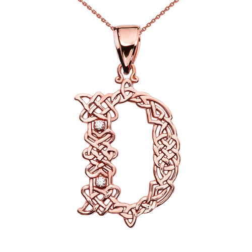 """""""D"""" Initial In Celtic Knot Pattern Rose Gold Pendant Necklace With Diamond"""
