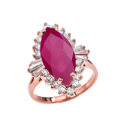 4 Ct (LCR) Ruby July Birthstone Ballerina Rose Gold Proposal Ring