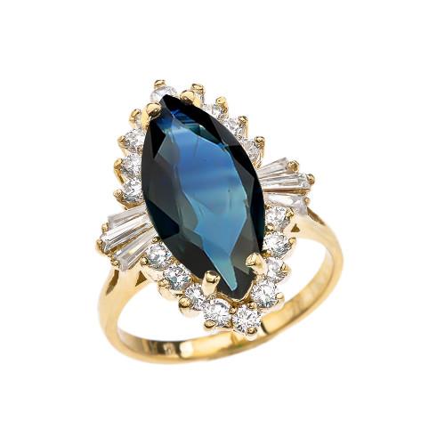 4 Ct CZ Sapphire September Birthstone Ballerina Yellow Gold Proposal Ring
