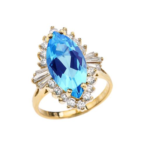 4 Ct CZ Blue Topaz December Birthstone Ballerina Yellow Gold Proposal Ring