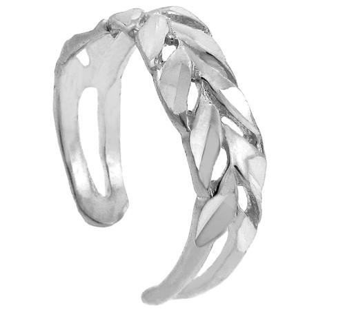 Diamand Cut White Gold Toe Ring