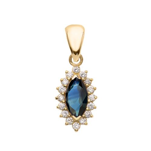 Diamond And Sapphire Yellow Gold Elegant Pendant Necklace