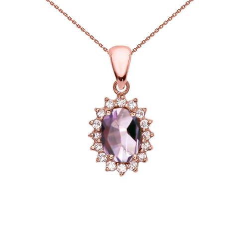 Diamond And June Birthstone CZ Alexandrite Rose Gold Elegant Pendant Necklace