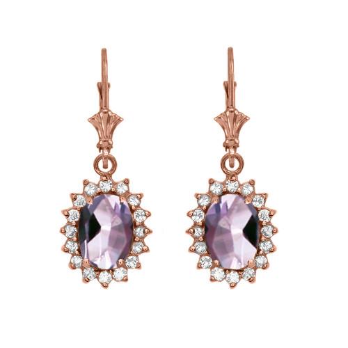 Diamond And June Birthstone CZ Alexandrite Rose Gold Dangling Earrings