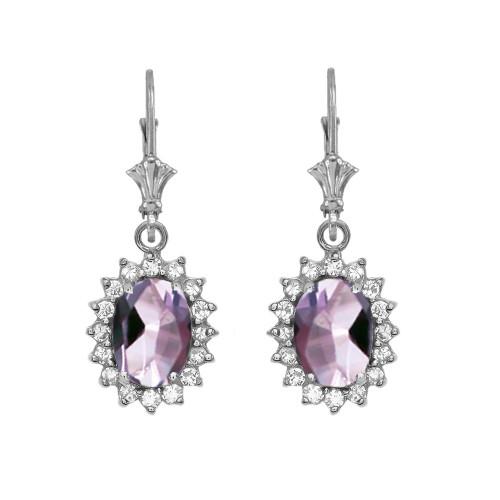 Diamond And June Birthstone CZ Alexandrite White Gold Dangling Earrings