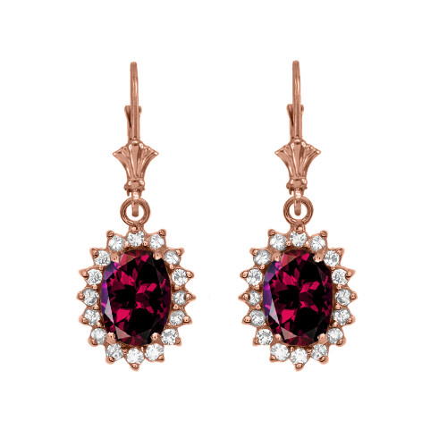 Diamond And Garnet Rose Gold Dangling Earrings
