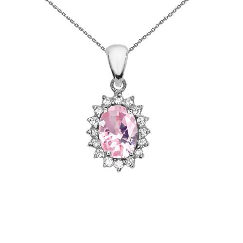 Diamond And October Birthstone Pink CZ White Gold Elegant Pendant Necklace