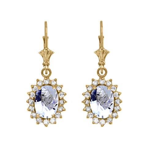 Diamond And March Birthstone Aquamarine Yellow Gold Dangling Earrings