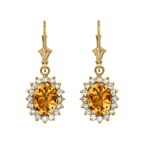 Diamond And Citrine Yellow Gold Dangling Earrings
