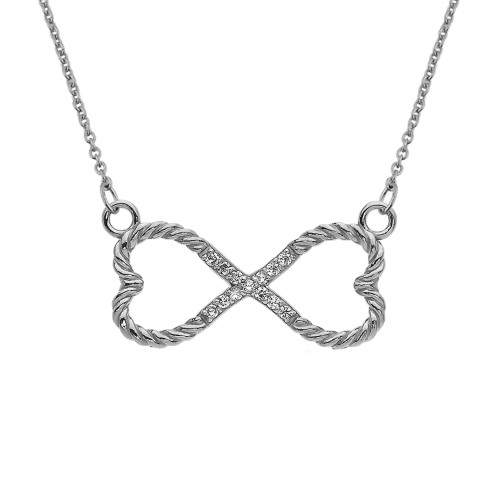 Diamond Double Heart Infinity Rope White Gold Necklace