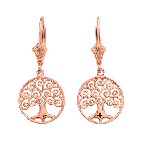 14K Rose Gold Polished Tree of Life Openwork Earrings