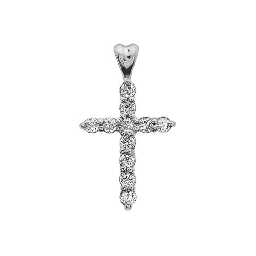 0.5 Carat Diamond Cross Elegant White Gold Pendant Necklace