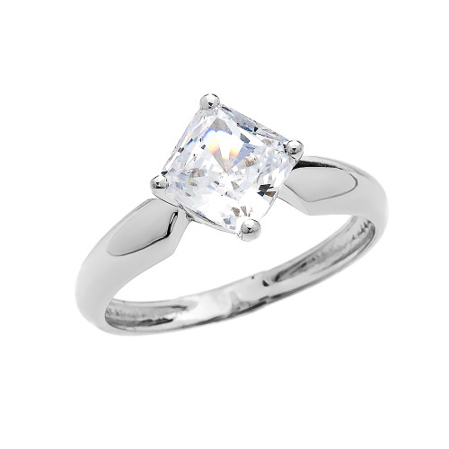 2.5 Carat Engagement and Proposal CZ Solitaire White Gold Ring